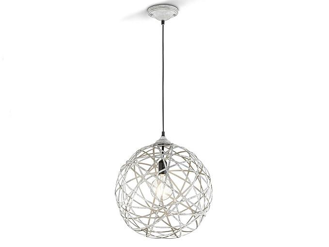 Lámpara colgante Bola Jacob con bombilla LED, diseño gris envejecido, 40 cm de diámetro
