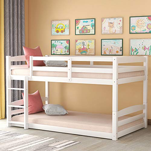 Solid Wood Twin Bunk Beds for Kids Toddlers Twin Over Twin Bunk Bed Frame with Built-in Ladders, White Bunk