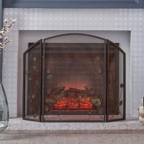 YYR 3パネル暖炉スクリーン暖炉ドア、安全な証明フェンススチールスパークガードカバーホームデコレーションガスストーブのアクセサリー55×25×78センチメートル