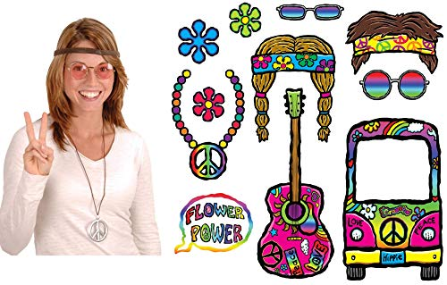 60s Sixties Retro Hippie Photo Prop Bundle| Includes Pink Glasses, Peace Sign Medallion, Headband and 60s Fun Signs -