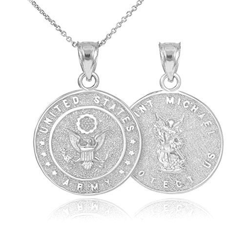 Army Mom Pendant (Fine Sterling Silver St Michael Medal Protection Charm US Army Reversible Pendant Necklace, 22