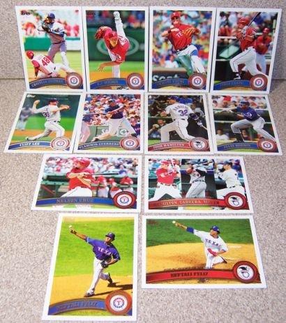 Texas Rangers - 2011 American League Champions- 2011 Topps Baseball Cards Complete TEAM SET: (Series 1 & 2 & Update) 40 Cards including Josh Hamilton, Mitch Moreland, David Murphy, Andrus, (Murphy Baseball Card)
