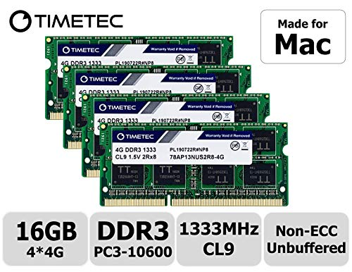 Timetec Hynix IC 16GB KIT(4x4GB) Compatible for Apple Mid 2010/2011 iMac 21.5/27 inch DDR3 1333MHz PC3-10600 CL9 204 Pin SODIMM Upgrade for iMac 11,2 iMac 11,3 iMac 12,1 iMac 12, 2 (16GB KIT(4x4GB))
