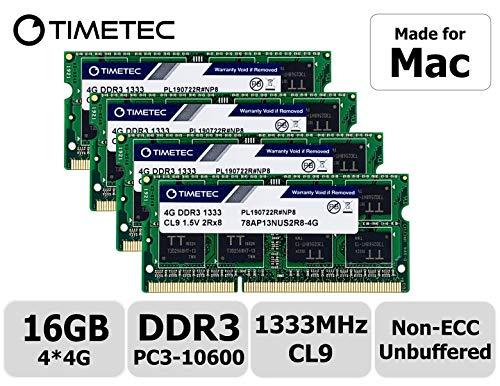 Timetec Hynix IC 16GB KIT(4x4GB) Compatible for Apple Mid 2010/2011 iMac 21.5/27 inch DDR3 1333MHz PC3-10600 CL9 204 Pin SODIMM Upgrade for iMac 11,2 iMac 11,3 iMac 12,1 iMac 12, 2 (16GB KIT(4x4GB))