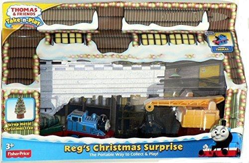 Thomas & Friends Take-n-Play REG'S CHRISTMAS SURPRISE Exclusive Play Set with Scrap Metal Christmas Tree by Fisher-Price (Christmas Surprise Reg's)