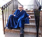 throwbee Blanket-Poncho Wearable Throw Coat for Indoors, Outdoors, Men, Women & Kids, Blue