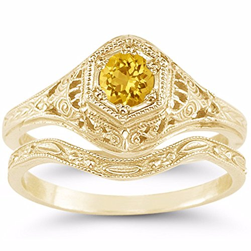 Antique-Style Victorian Yellow Citrine Bridal Wedding and Engagement Ring Set, 14K Yellow Gold - Size 4 ½ 14k Yellow Gold Victorian Antique