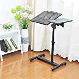 Adjustable Laptop Stand Desk with Double Radiator Fan Portable Sofa Bedside Table - Mobile Notebook Computer Stand up Desk Cart With Wheels Black Work Station - For Home & Office Use