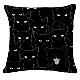 """Lyn Cotton Linen Square Throw Pillow Case Decorative Cushion Cover Pillowcase for Sofa 18 """"X 18 """" Black and white cat (1)"""