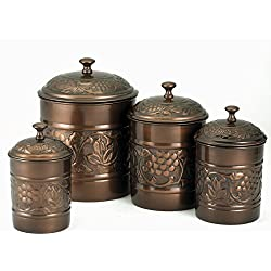 Old Dutch Antique Copper Heritage Canister Set - 4 Piece Set