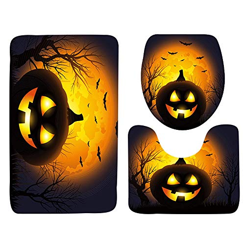 lotus.flower 3-Piece Rug Set, Bath Mat Carpet Water Absorbent┃Bathroom Rug Mat Non-Slip ┃Halloween Horror Toilet Seat Cover and Rug Bathroom Set (A)