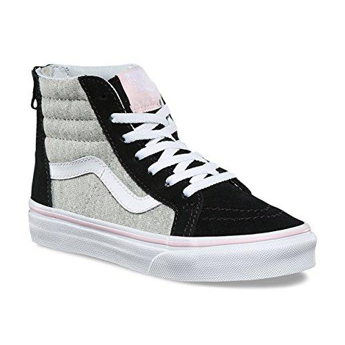 d5477036e947e Galleon - Vans Kids K SK8-HI Zip Shimmer Jersey Black Gray Size 11.5