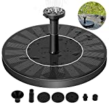FITNATE Solar Fountain Pump, Solar Garden Water Pump,1.4W,6 Spray Nozzle Solar Panel, Constantly Effluent Waterproof Outdoor Water Pump for Pond, Pool, Garden, Fish Tank, Aquarium