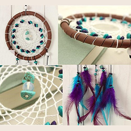 Karleksliv hot sale Classical style Handmade Indian Real Feathers Dream Catcher Wall Hanging Car Hanging Decoration Ornament small Decorative Dream Catchers purple feathers brown circle XM001