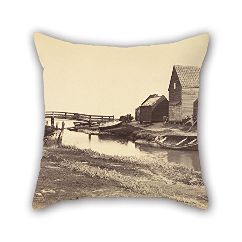 Alphadecor Oil Painting Peter Henry Emerson (British, Born Cuba - Tidal Creek And Old Warehouses South Of Southwold, Suffolk Pillowcover 20 X 20 Inches / 50 By 50 Cm For Club,coffee House,teens Gir (Shark Tank Products Corduroy compare prices)