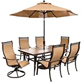 Hanover Outdoor Furniture 7 Piece Monaco High Back Sling Dining Set with Umbrella, Tan/Bronze For Sale