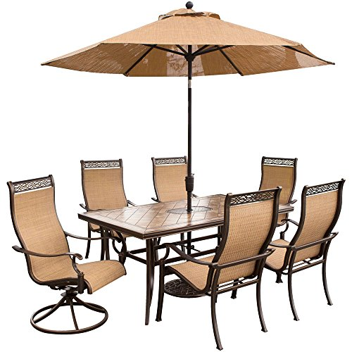 Hanover Outdoor Furniture 7 Piece Monaco High Back Sling Dining Set with Umbrella, Tan/Bronze (High Patio Chairs Back Sling)