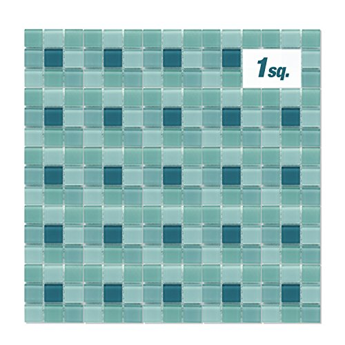 tchen Pool Multicolored Mosaic Glass Tile Sheets 3 Shades of Blue Smooth Glossy Finish, APL2037 ()