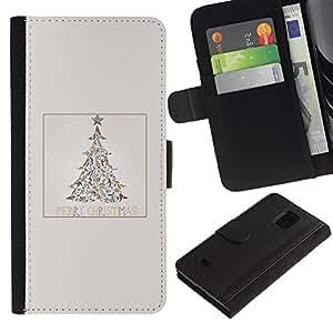 LASTONE PHONE CASE / Lujo Billetera de Cuero Caso del tirón Titular de la tarjeta Flip Carcasa Funda para Samsung Galaxy S5 Mini, SM-G800, NOT S5 REGULAR! / Tree Minimalist Winter Snow