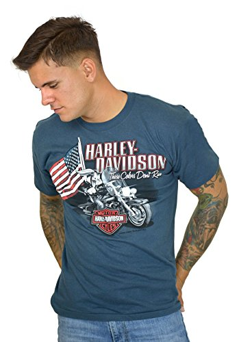 Barnett Harley-Davidson Harley-Davidson Mens WB USA Bugs with Motorcycle Blue Short Sleeve T-Shirt (Large)