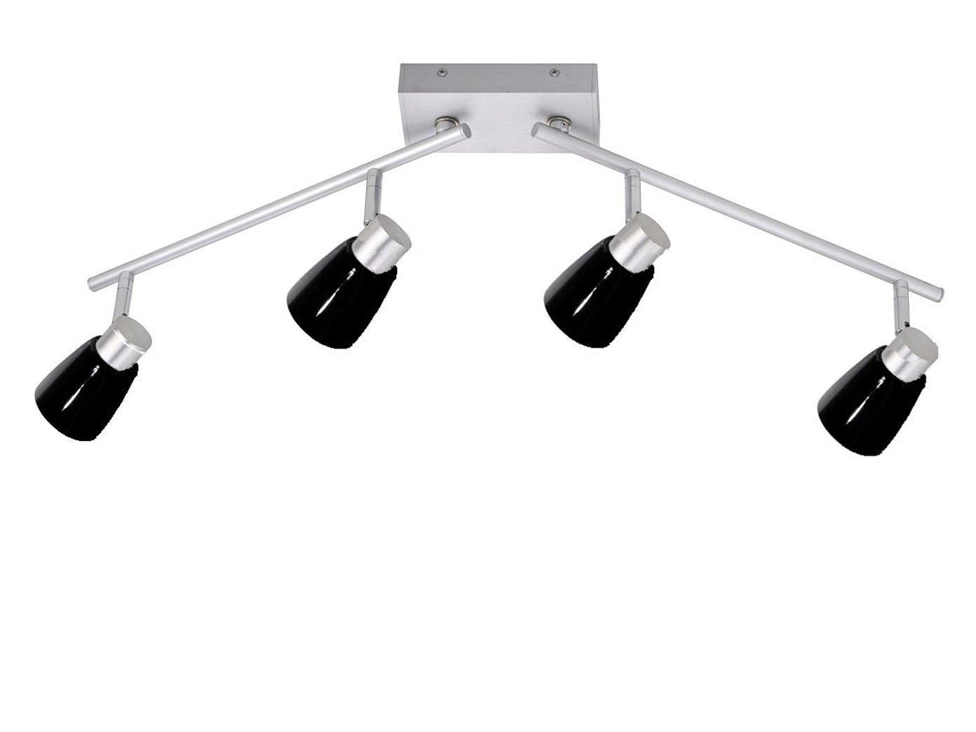 4flammiger LED Deckenstrahler Lampenschirme Glas schwarz, Spots & Arme schwenkbar, Honsel Leuchten