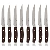 Equinox 8-Piece Steak Knife Set, Serrated Edge Steak Knives, Dark Wood