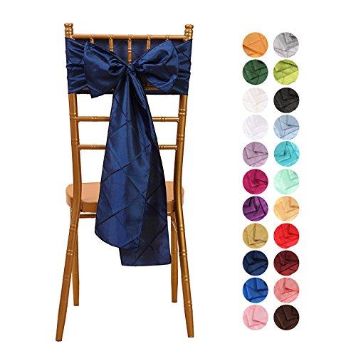 VEEYOO 1 Piece 6x108 inch Pintuck Taffeta Chair Sashes Ribbon Bows Cover for Wedding Party Decoration, Navy Blue - Edge Taffeta Ribbon