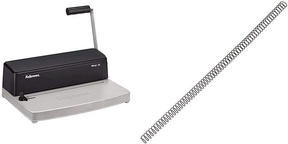Fellowes Metal 25 Encuadernadora manual de espiral metálico, uso ocasional + 5110301 Pack de 100 espirales metálicas 10 mm, negras