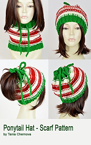 Christmas Hat Pattern Ponytail Hat With Hole Santa Claus Knit Hat Christmas  Scarf Pattern Knit Beanie 052b7b1cb60