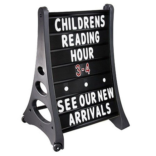 24'' x 36'' QLA Outdoor Plastic Rolling Sidewalk Curb Sign A Frame Sign with Quick-Load Changeable Message Board and Letters, Black by Magic Master