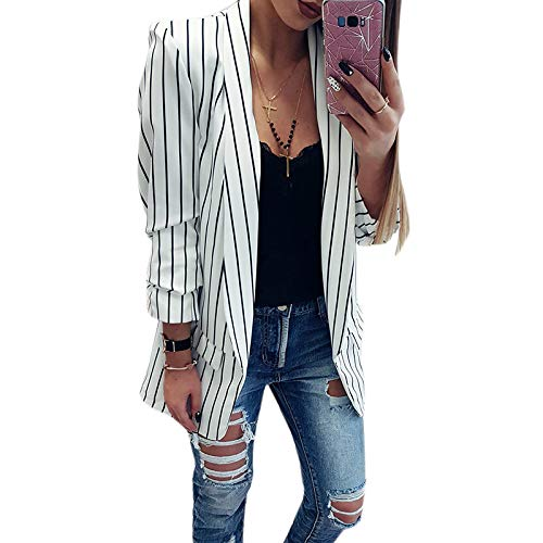 giacca bianca e nera a righe