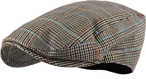 Wonderful Fashion Men's Classic Herringbone Tweed Wool Blend Newsboy Ivy Hat (Large/X-Large, Paisley Lt.Brown)