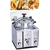 Electric Pressure Deep Fryer, Denshine Stainless Steel Countertop Pressure Fryer with Timer & Temperature Control 16L Commercial Chicken Fish Fries Meat Vegetable Frying Machine Stove