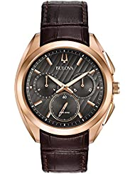Bulova Mens 45mm CURV Collection Rose Goldtone Leather Strap Watch