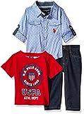 U.S. Polo Assn. Baby Boys' Sport Shirt, Creeper and Pant Set, 0679-Multi Plaid, 24M