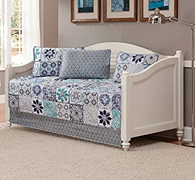 Fancy Linen 3pc Bedspread Quilt Set Over Size Bed Cover with Flowers Squares Grey Blue Teal White Navy Blue New