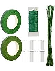 5 Packs Floral Arrangement Tool Kit, 2 Rolls Floriculture Paper Tapes 26 Gauge Floral Wire 100 Pcs 16 inch Floral Stem Wire & 100 Pcs Ball Head Pins for Bouquet Stem Wrap Florist