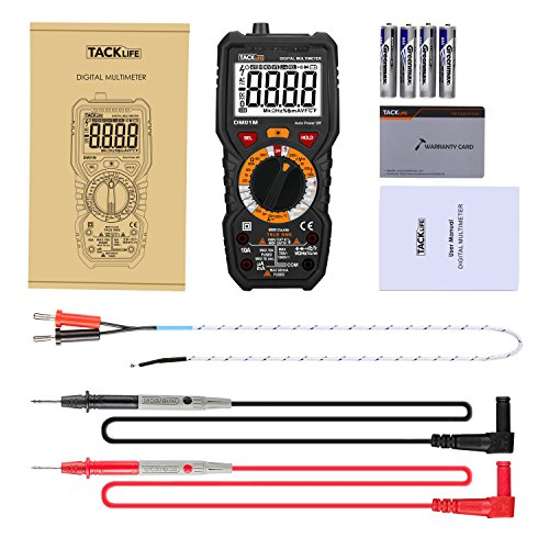 Tacklife DM01M Advanced Digital Multimeter Trms 6000 Counts Tester Non Contact Voltage Detection Amp Ohm Volt Multi Meter Temperature, Live Line, with LCD Backlit, Red/Black by TACKLIFE (Image #7)