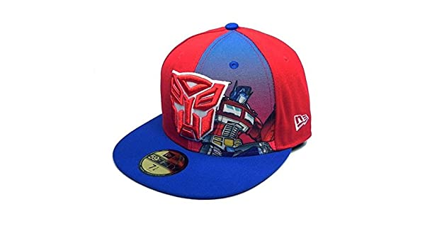 9e796c7fa5709 Amazon.com  New Era 59Fifty HAT Hero Transformers Autobots Panel Sub  Official Fitted Red Royal Blue Cap (7 1 8)  Clothing