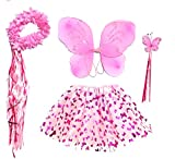 Girls Pink Butterfly Fairy Costume with Wings, Wand and Halo