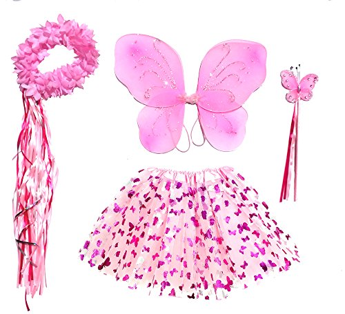 Girls Pink Butterfly Fairy Costume with Wings, Wand, Halo Age 3-8