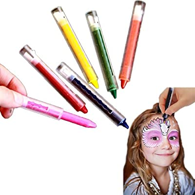 Multicolor Face Paint Push Up Crayons Sticks - Pack of 12 Bright Makeup Painting Kit. Creative Body Facial Paint Set - 6 Color Assortment.: Toys & Games