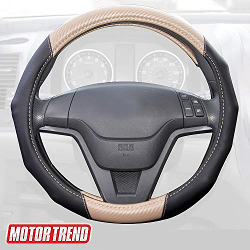 Motor Trend GripDrive Carbon Fiber Steering Wheel Cover - Universal Fit with Microfiber Leather for Steering Wheel Sizes 14.5 15 15.5 inches (Beige)