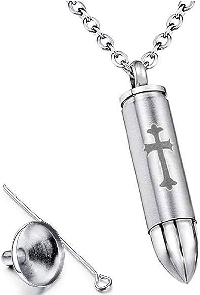 Stainless Steel Bullet Memorial Urn Keepsake Chain Pendant Necklace Silver Gift
