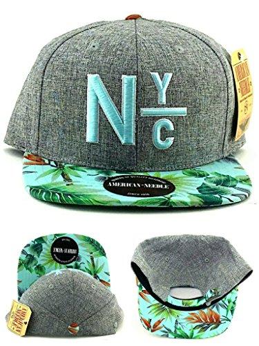 (American Needle New York City Night Bright Floral Gray Green Strapback Hat Cap)