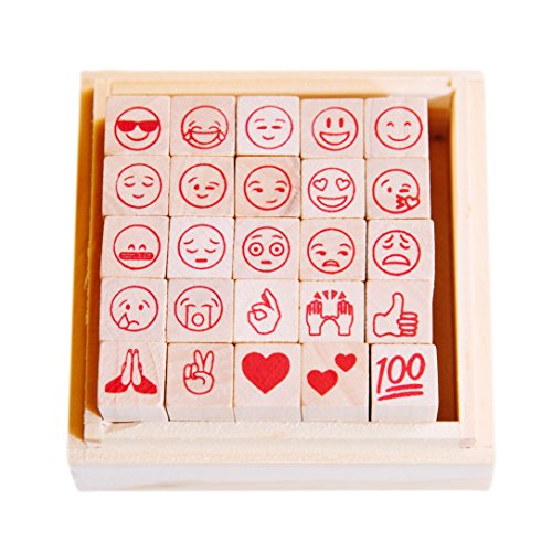 Price comparison product image Emoji Stamp Set by HEYEMOJI / Emoji Gifts / Emoji Toys / Emoji Crafts / 25 New & Popular Emoji Designs on Rubber Stamps in Wood Box