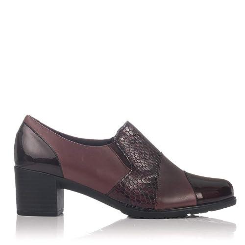 PITILLOS 5244 Mocasin Piel Tacon Medio Mujer: Amazon.es: Zapatos y complementos