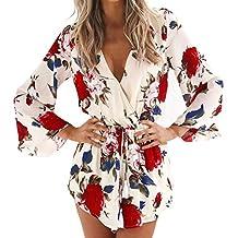 Women Boho Floral Print V-neck 3/4 Flare Sleeve Playsuit Short Jumpsuit Romper