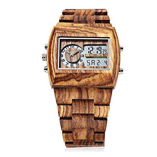 Bewell Men's Quartz Wrist Watch with Japan Movement Wooden Watches and LED Back Light Display W021A (Japan Movement)