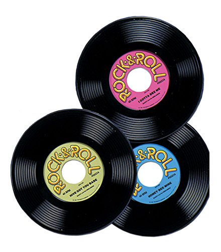 3 1950s 50s Sock Hop Grease Party Decoration Prop Plastic Rock & Roll RECORDS 9